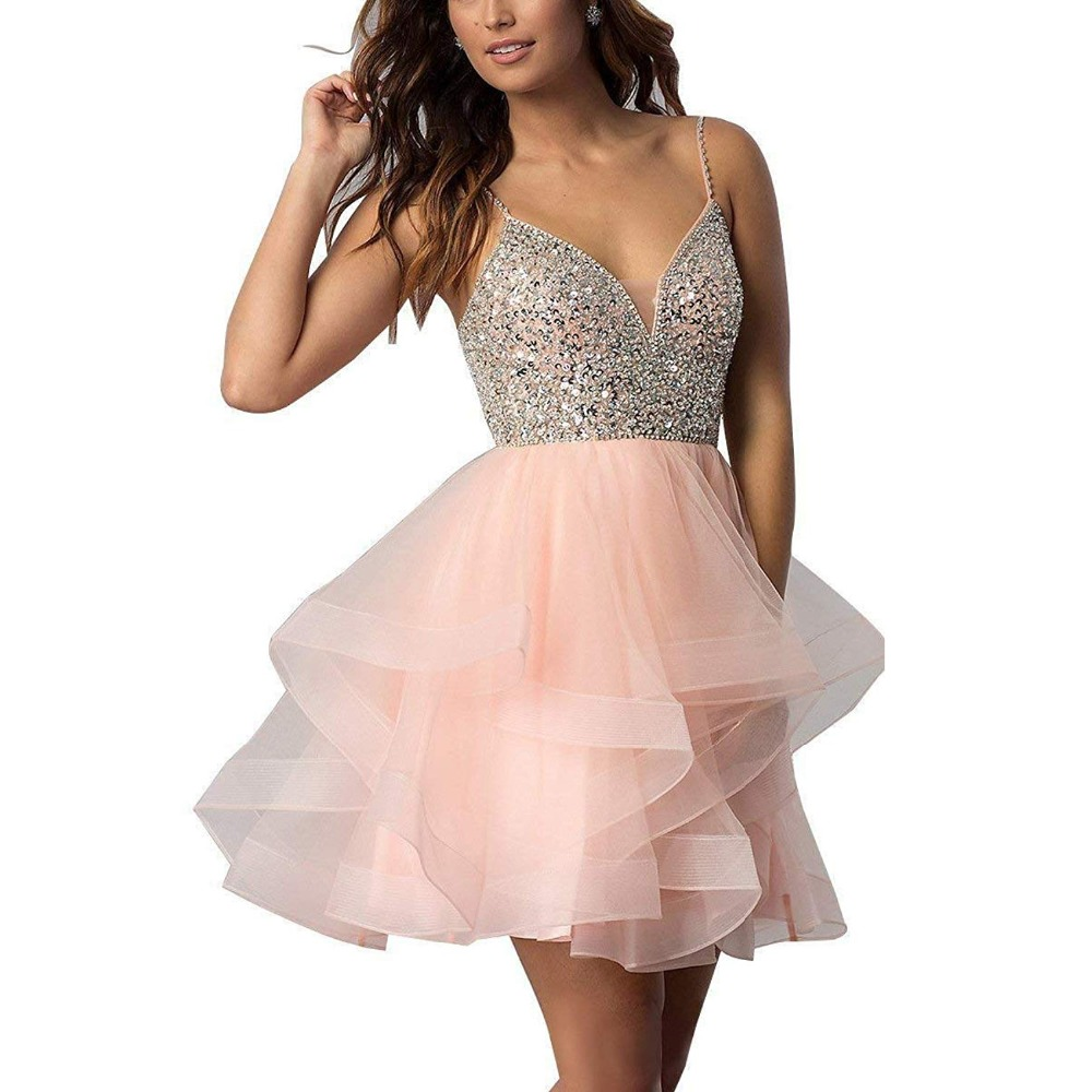 LISM Spaghetti Beaded Bodice Short Homecoming Dress Tulle Mini Prom Dress Sequins Crystals Party Gown 8 Grade Graduation Dress