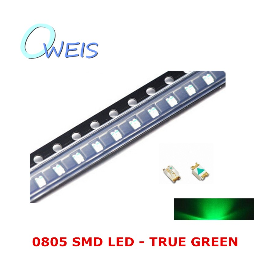 200PCS 0805 TRUE GREEN LED 2012 (0805 PURE green) indicator sign light emitting diode light beads LAMP FREE SHIPPING