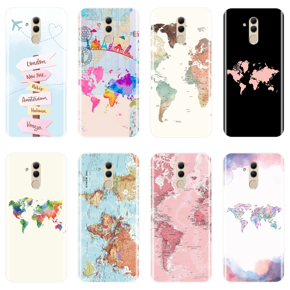 Back Cover For Huawei Mate 7 8 9 10 20 Lite World Map Travel Airplane Silicone Soft Phone Case For Huawei Mate 9 10 20 Pro Case