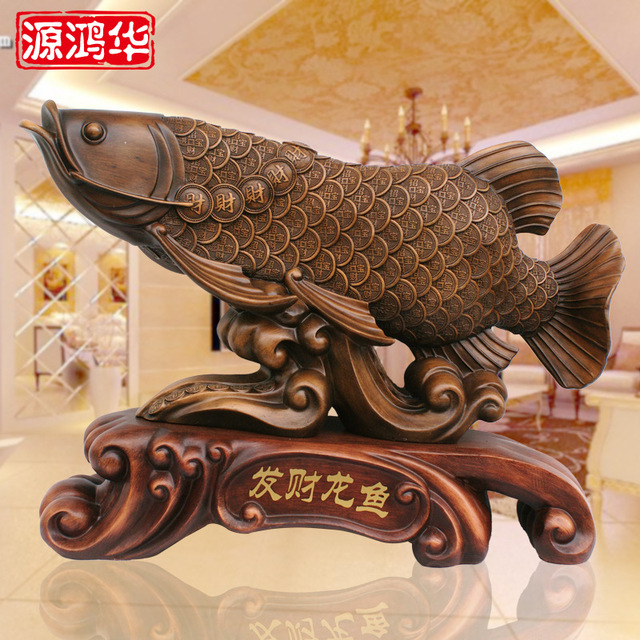 2017 New Arrival Fortune Dragon Fish Ornaments Factory Direct Resin Handicraft Gift Store For Grain Gold Electroplating Agent