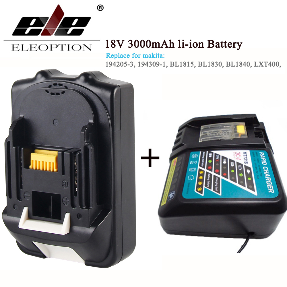 ELEOPTION For Makita BL1830 18V Battery and charger 3000mAh Rechargeable Li-ion Power Tools Batteries for Makita BL1835 BL1815 eleoption for makita 18v 3000mah power tool battery pack for bl1830 bl1840 recharegeable battery cordless drill li ion batteries