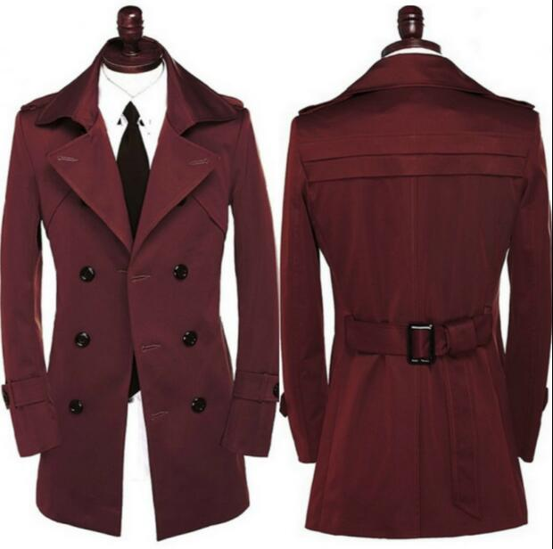 Free shipping 2017 new designer autumn spring slim sexy trench coat men long sleeve mens trench coat clothing red belt S - 9XL