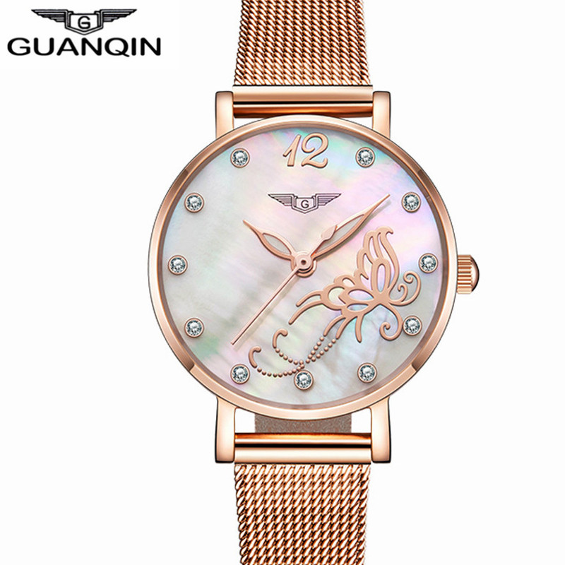 montre femme GUANQIN New Fashion Brand Women Golden Wrist Watch Luxury Female Jewelry Full Steel Quartz Clock Ladies Wristwatch sanda gold diamond quartz watch women ladies famous brand luxury golden wrist watch female clock montre femme relogio feminino