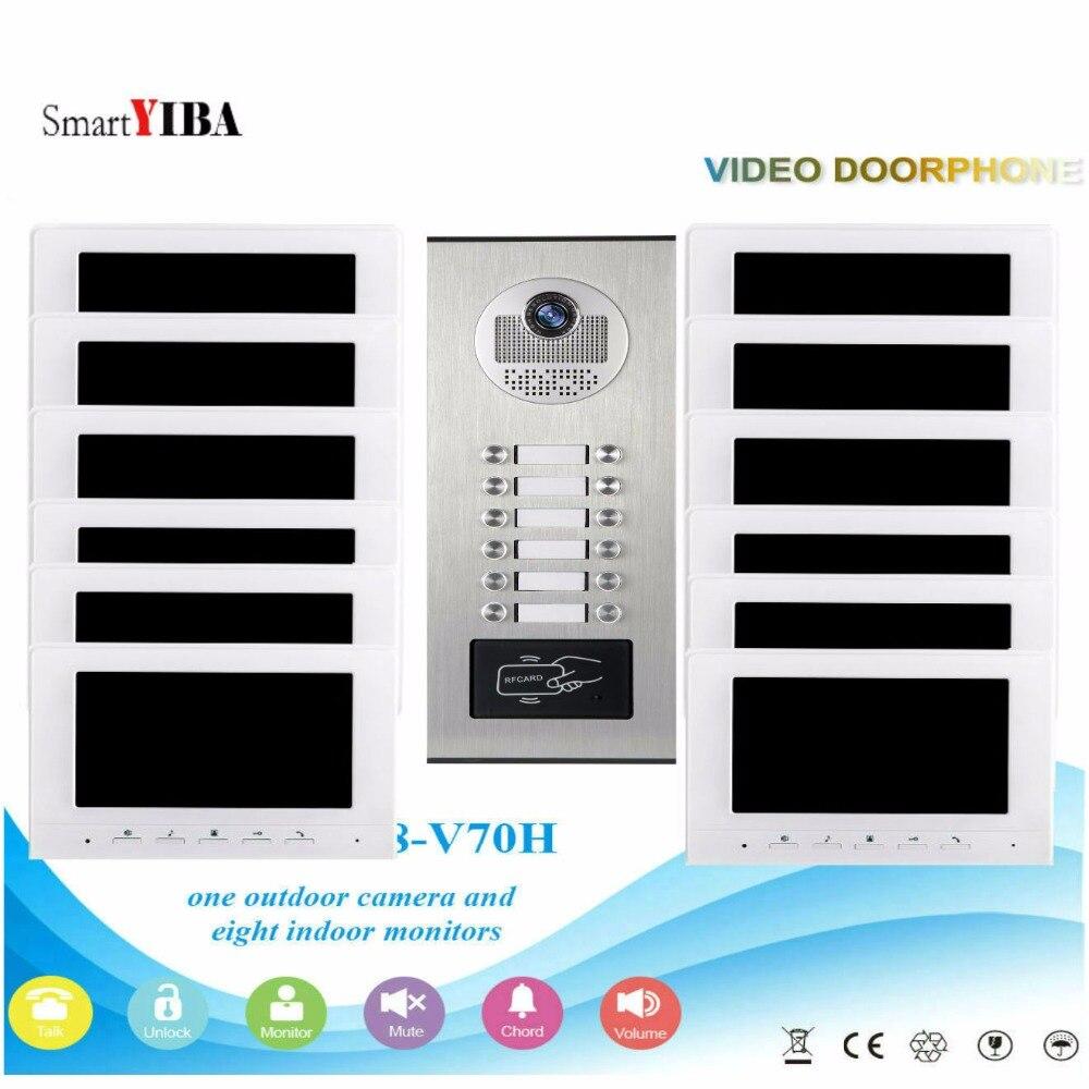 SmartYIBA Interfones para o Apartamento De Desbloqueio do Cartão RFID Vídeo Porteiro Interfone de Vídeo Intercomunicadores para Casas Particulares para 12 Casa