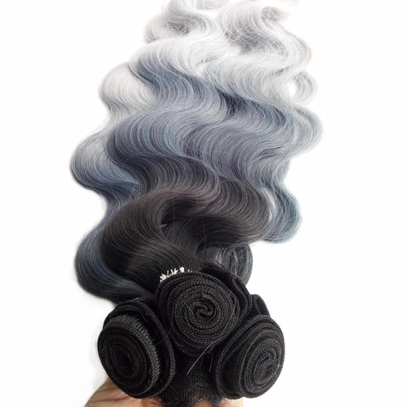 Pervado Hair Synthetic Hair Extension 280g/set 4pcs Black Bluish Grey 3Tone Ombre High Temperature Fiber Body Wave for Women