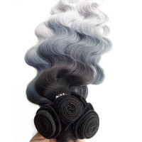 Esprit Beauty 3bundles Synthetic Hair Weaving With One Closure Extension Bluish Grey Ombre High Temperature Fiber