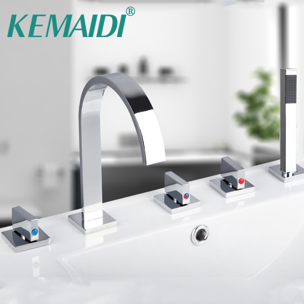 KEMAIDI Novel Design 5pcs Bathroom Tub Basin Sink Faucet with Hand Shower Deck Mounted 5 Holes Three Cross Handles Bathtub Taps antique red copper 5pcs bathroom tub sink faucet with hand shower deck mounted 5 holes three cross handles bathtub taps ttf203