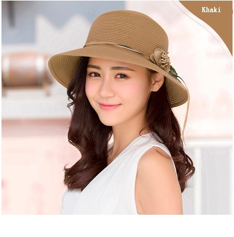 HTB1YFPpffjM8KJjSZFNq6zQjFXaG - 2018 Summer New Solid Floppy Straw Hats For Women Flower Accessories ladies Summer Beach Sun Caps Panama Style Hat