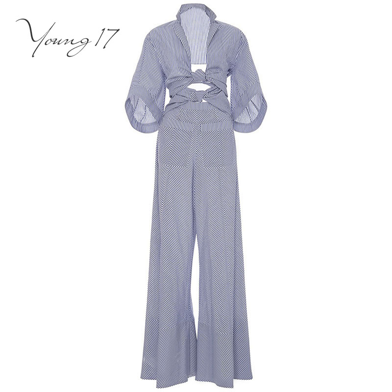 Young17 jumpsuit romper wrap striped blue lace up pockets elegant jumpsuit long female 2017 new sexy bodysuit autumn jumpsuit