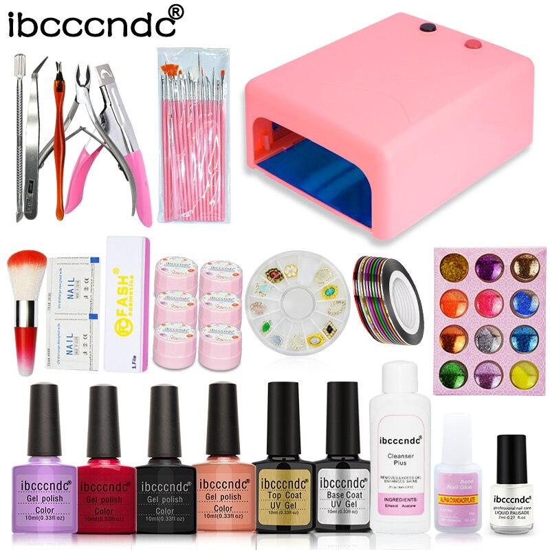 Nail Art Tools Set 36W UV Lamp & 4 Color 10ml Gel Polish Nail Base ...