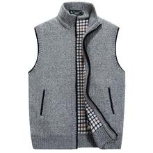 New Men's Stand Collar Loose Zipper Sleeveless Knitted Cardigan Sweater Vest Sleeveless jacket