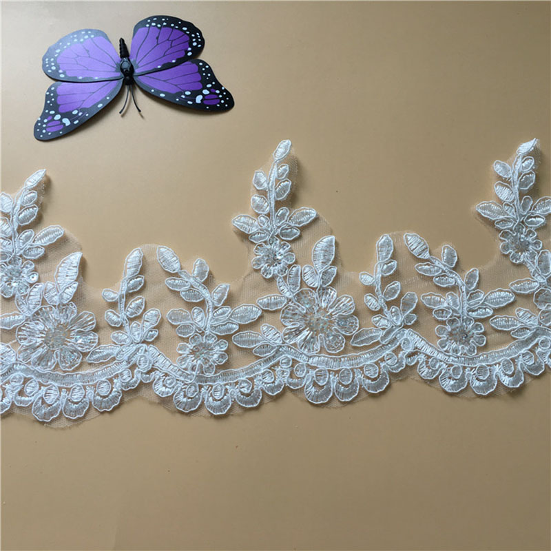 9Yards High Quality Scalloped Tulle Sequins Lace Trim Bling Bling Lace Trim Wedding Dresses Bridal Veils Decoration DIY Y36 in Lace from Home Garden