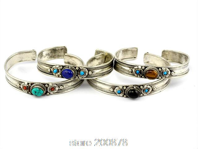 BB-029 Tibetan silver inlaid Natural Stone Bangle Nepal vintage Open Cuff Amethystine Moonstone vintage carved metal tibetan silver cuff bracelet bangle for women