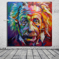Hand painted Albert Einstein Colorful portrait picture Pop Art Canvas Painting Wall Art For Living Room Modern home Decoration