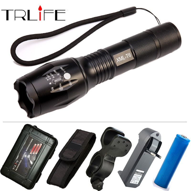 High Quality Professional 5 modes Zoomable CREE XML-T6 LED Flashlight 6000LM Lumens Waterproof Lanterna Torch Light high quality zoomable cree xml t6 model 1000 lm led outdoor long shots flashlight 18650 torch high light