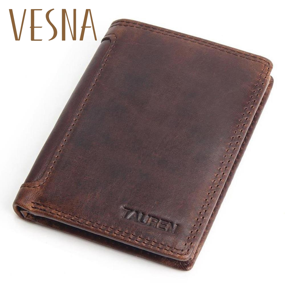 Vintage Purse Designer 100% Carteiras Masculinas Cowhide Äkta Läder - Plånböcker