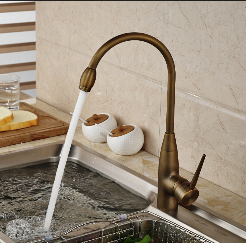 New Product Antique Brass Kitchen Sink Faucet Single Handle One Hole Water Taps Deck Mounted antique crystal kitchen faucet solid brass brushed basin facuets swivel single handle hole sink mixer water taps deck mounted