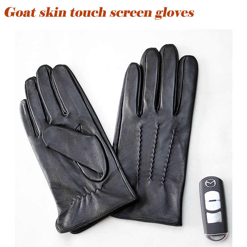 Goatskin gloves men's single skin thin unlined spring summer driving black leather touch screen sheepskin gloves