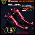 Laser Logo(GSR) Red CNC Adjustable 2 finger Short Motorcycle Brake Clutch Levers For Suzuki GSR750 2011 2012 2013 2014 2015 2016
