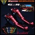 Logotipo do laser (GSR) Red CNC Ajustável 2 dedo Curto Motocicleta Alavancas de Freio de Embreagem Para Suzuki GSR750 2011 2012 2013 2014 2015 2016