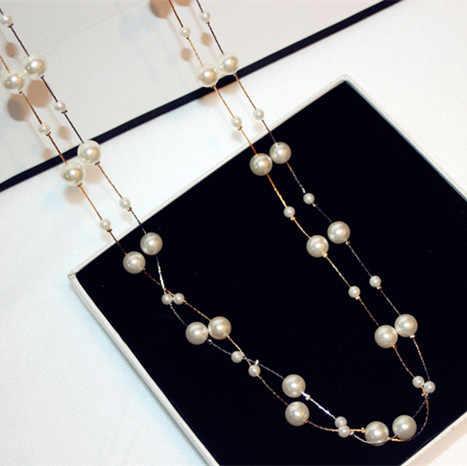 59b57f6d9398 ... Collar largo de la joyería de La Perla simulada de las capas dobles  collares de la