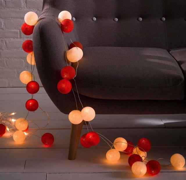 Blanco Luz Roja Para Decoraciones de Navidad Al Aire Libre Home LED Cadena Bola de Algodón Luces de Hadas del Partido Del Acontecimiento de la Boda Suministros