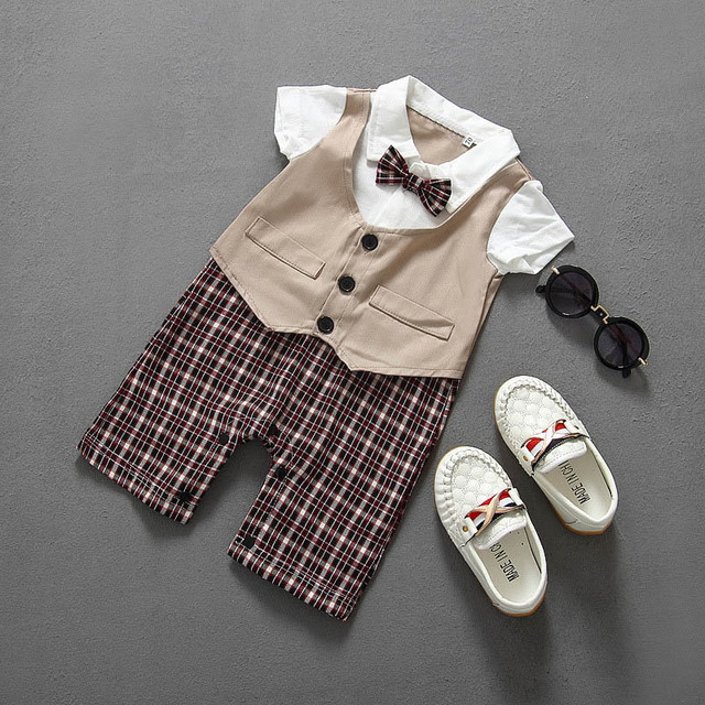 2018 Summer New  Boy gentleman clothes fashion cotton Bow tie newborn baby boy clothes for babies