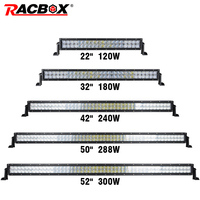 RACBOX 5D Straight 22 32 42 50 52 Inch 200W 300W 400W 480 500W LED Light Bar Dual Row Offroad Combo Beam LED Work Light For Jeep