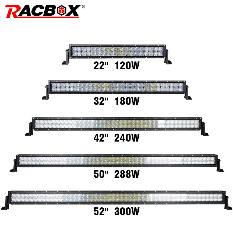 RACBOX 5D recta 22 32 42 50 52 pulgadas 200 W 300 W 400 W 480 500 W luz LED bar doble fila Offroad Combo Beam LED luz de trabajo para Jeep