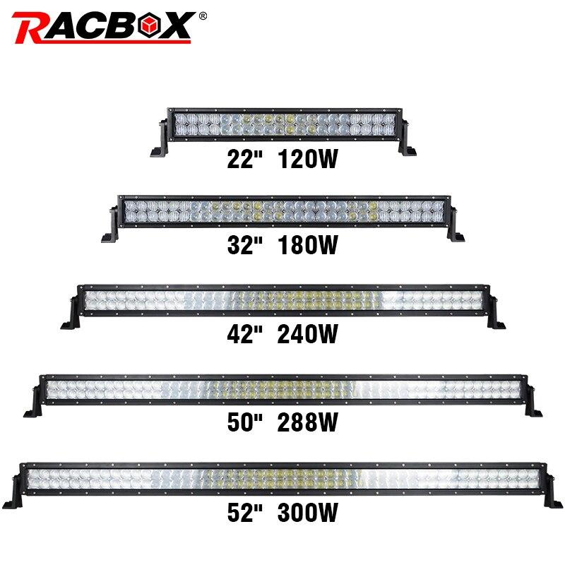 Racbox 5D прямые 22 32 42 50 52 дюймов 200 Вт 300 Вт 400 Вт 480 500 Вт светодио дный светло-бар двойной ряд Offroad Combo Луч светодио дный свет работы для Jeep