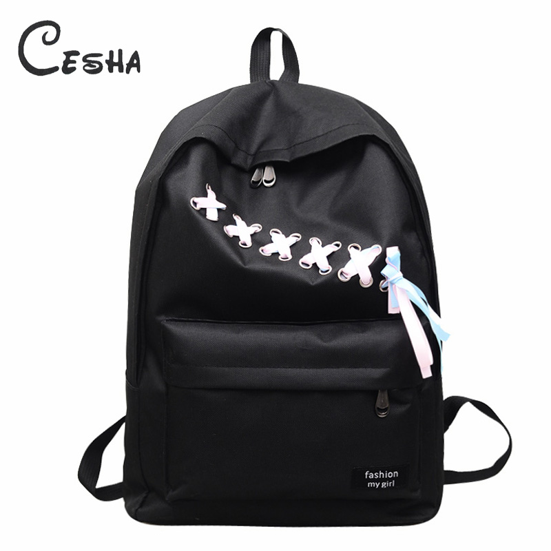 2018 Fashion Casual Ribbons Design Girls School Bag High Quality Durable Nylon Satchel Book Bag School Backpack for Teenagers