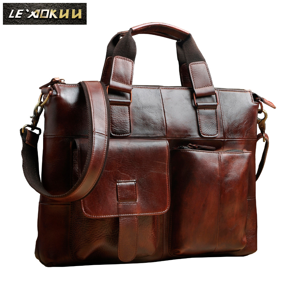Men Original Leather Retro Designer Business Briefcase Casual 14 Laptop Travel Bag Case Attache Messenger Bag