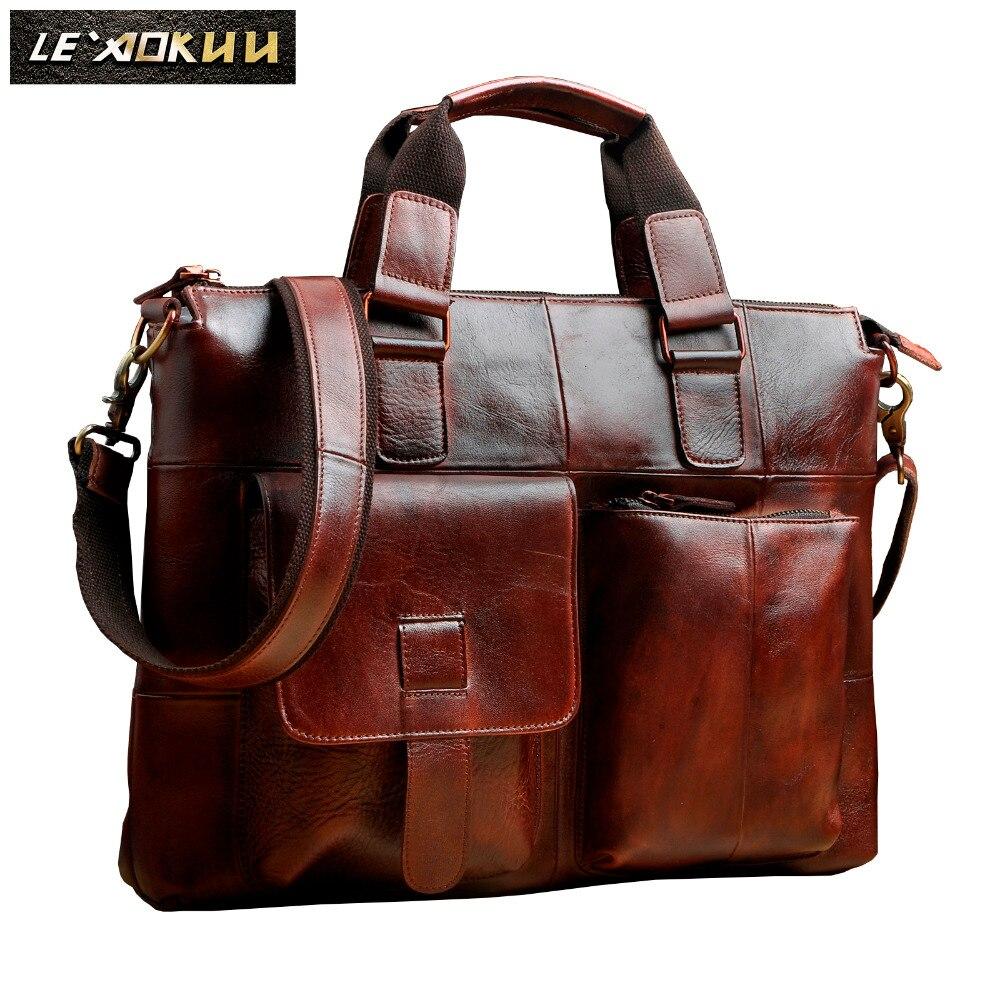 Men Original Leather Retro Designer Business Briefcase Casual 14