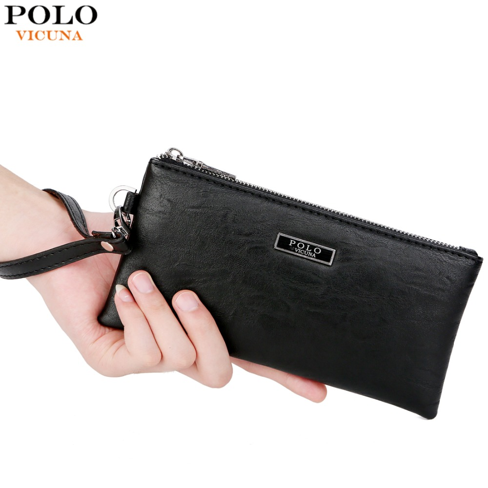 d66d54ed49ac0 VICUNA POLO Fashion Men Leather Handbag Black Men's Standard Wallets Large  Capacity Purse Brand Casual Male