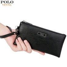 cfcd1e695f3 VICUNA POLO Fashion Men Leather Handbag Black Men's Standard Wallets Large  Capacity Purse Brand Casual Male