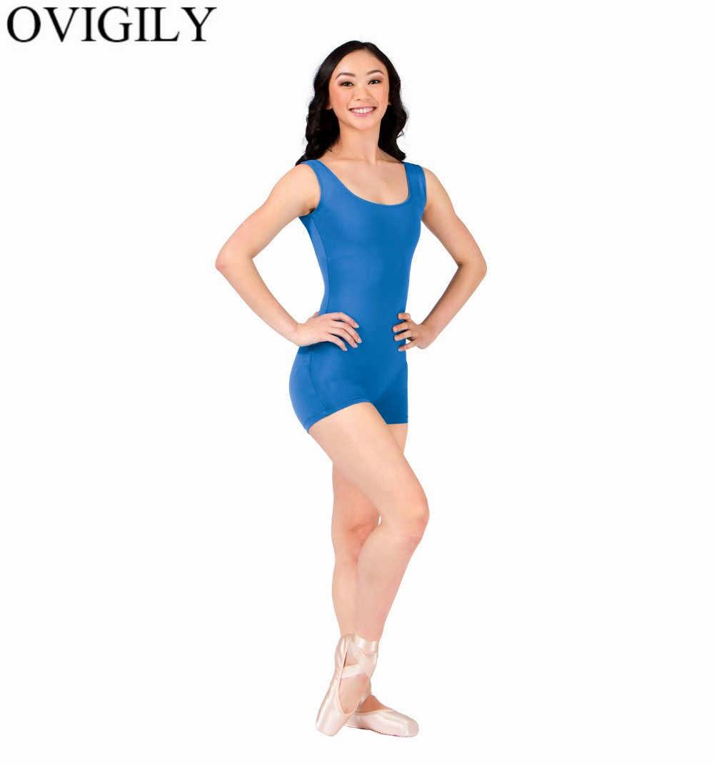 OVIGILY kobiet królewskiej niebieski zbiornik Shorty gimnastyka Biketards elastan Lycra z wycięciem pod szyją taniec trykoty odzież rowerowa kostiumy dorosłych