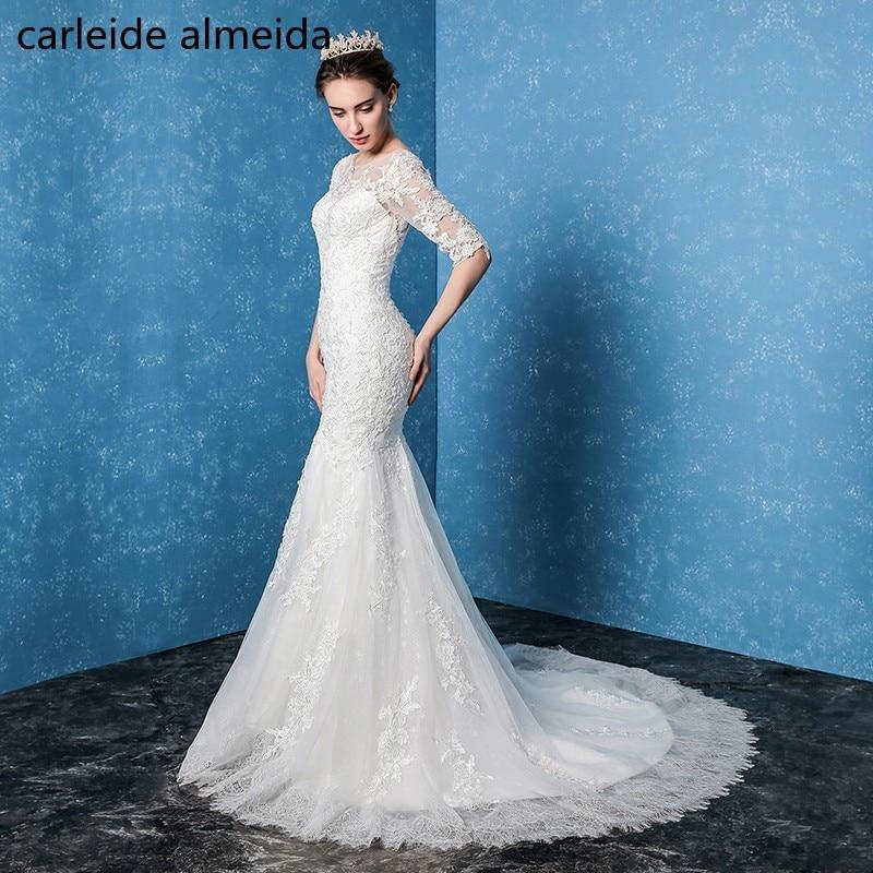 Vestido de Noiva Sheer Back with Lace Appliques Mermaid Wedding ...