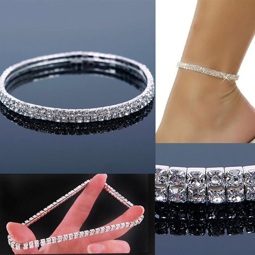 Shiny Crystal Rhinestone Elastic Anklets for Women Ankle Bracelet on the Leg Bracelet Layered Anklet Foot Jewelry enkelbandje