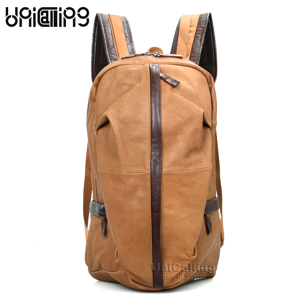 UniCalling leather backpack men fashion genuine leather backpack for men quality real cow leather laptop backpack male цены