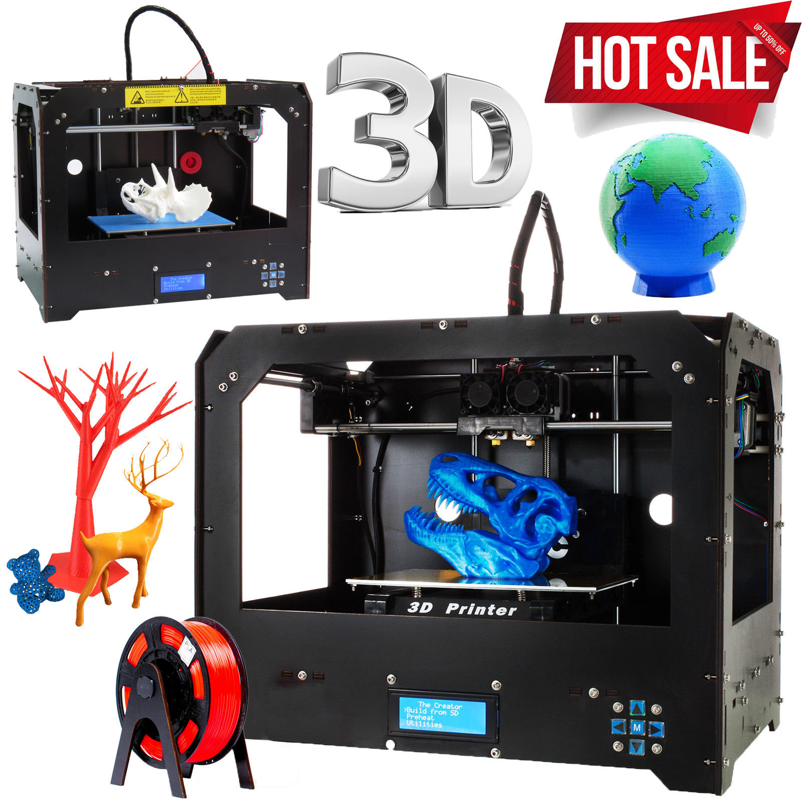 CTC FDM 3D Printer Bizer Dual Extruder & MK8 MakerBot Replicator PLA / ABS USA Stock