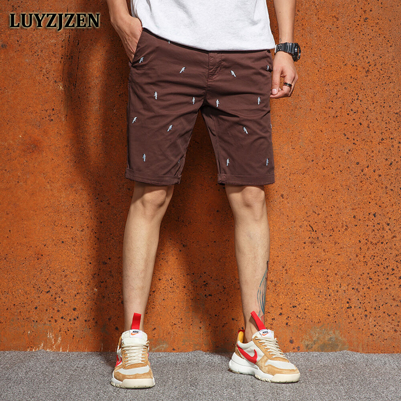 Fashion Army Cargo Shorts Military Men Cotton Casual Embroidery Bird Pattern Short Trousers New Brand Clothings Summer Homme F59