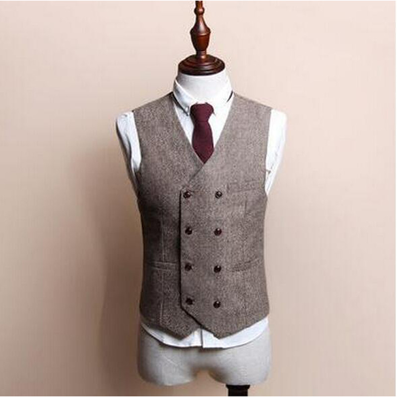 Classic Men's Vests British Style Slim Woollen cloth Double Breasted Sleeveless Jacket Waistcoat Men Suit Vest 100% High Quality