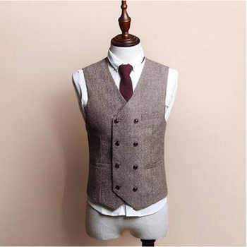 Classic Men's Vests British Style Slim Woollen cloth Double Breasted Sleeveless Jacket Waistcoat Men Suit Vest 100% High Quality - DISCOUNT ITEM  15% OFF All Category
