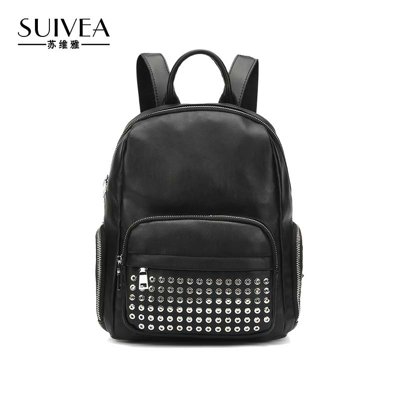 SUIVEA Brand Ladies Backpack Solid Preppy Style For Luxury 2017 High Quality PU Material Fashion Travel