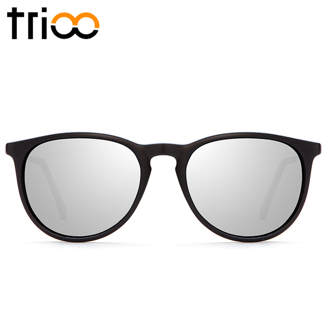 TRIOO Women Sunglasses Polarized Mirror Brand Designer Mirror Oculos UV400 Fashion Sun Glasses for women Black Simple shades 1