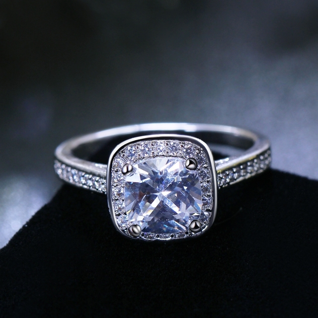 Lowest Price Classic Square Engagement Ring For Women Top Aaa