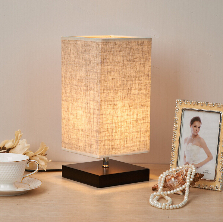 Minimalist Table Lamp Bedside Desk Lamp Nightstand Lamps with Solid Wood and Fabric Shade for Bedroom Living Room Table Decor table lamps europe style with e27 holder for bedroom living room bedside table lamps desk lamp luminarias decorative lamp shade