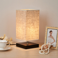 Minimalist Table Lamp Bedside Desk Lamp Nightstand Lamps with Solid Wood and Fabric Shade for Bedroom Living Room Table Decor