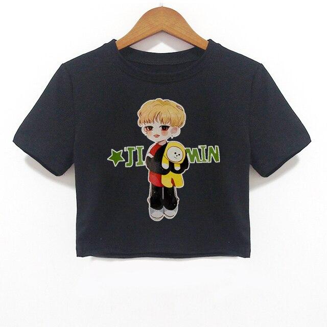 8060435ac077 2018 Harajuku Graphic Tees Women Tshirts Streetwear Bts Jimin T-shirts Crop  Top Clothes Tee Shirt Black Womens Clothing