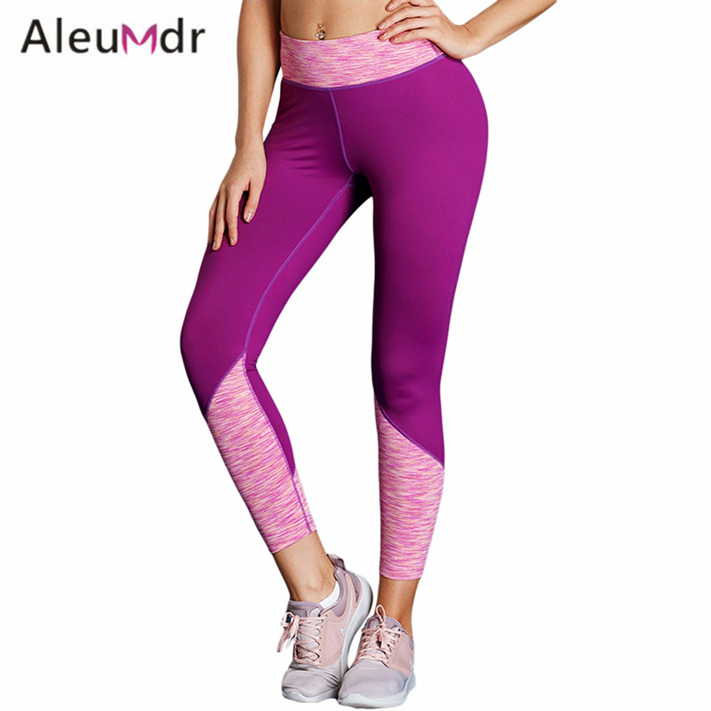 Aleumdr Sport Leggings Women High Waist Slim Yoga Pants Running Fitness Tights Quick Drying LC77127 Ropa Deportiva Mujer Gym active random floral print quick drying yoga leggings in multi